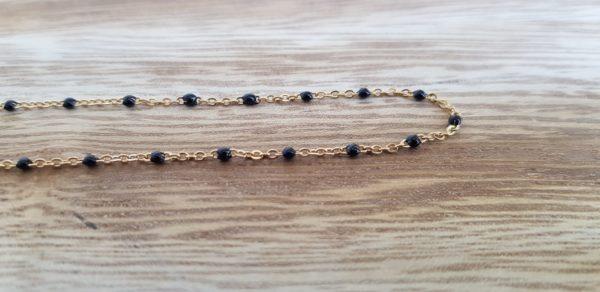 collier acier inoxydable perles noires