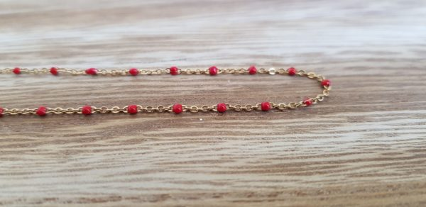 collier acier inoxydable perles rouges mile mila pattesdechat