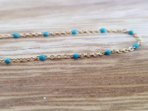 collier acier inoxydable perles turquoises gigi clozeau