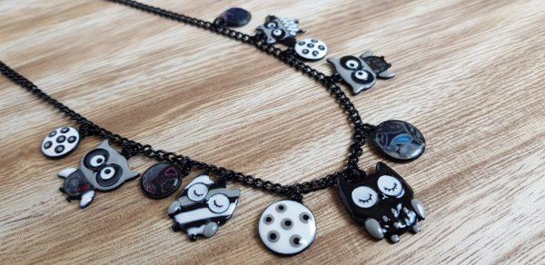collier chouette noire bijoux lol boutique pattesdechat.fr
