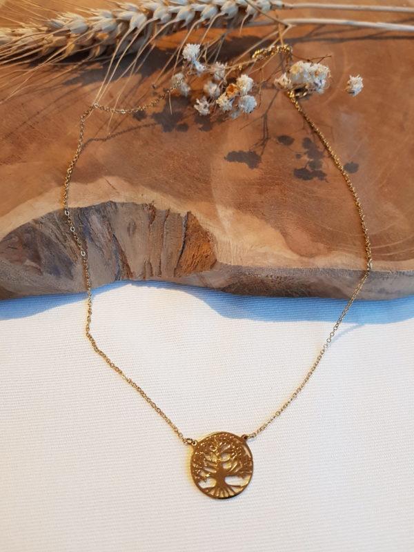 collier arbre de vie en acier en boutique pattesdechat.fr