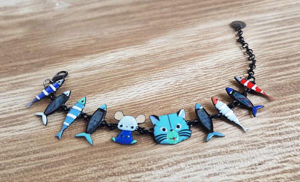 bracelet chat poissons