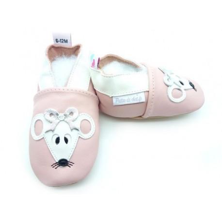 chaussons cuir souple enfant souris