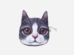 porte-monnaie chat blanc gris