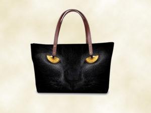 sac femme chat 3D noir