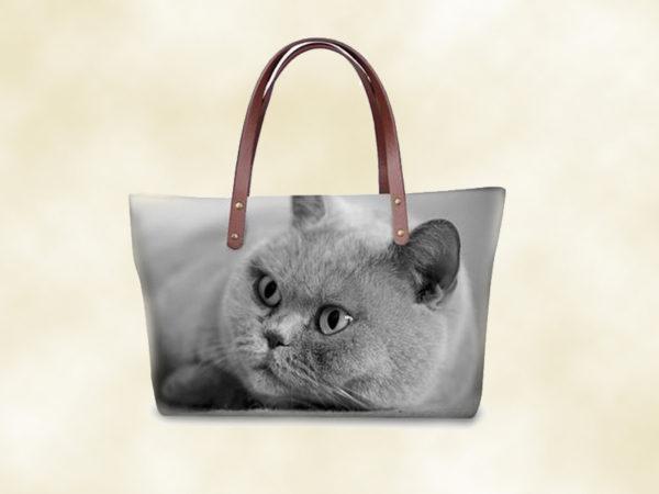 sac femme chat 3D chartreux