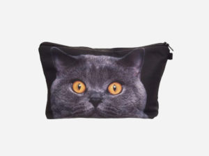 trousse maquillage chat gris