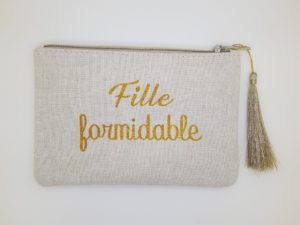 pochette fille formidable paillettes dore
