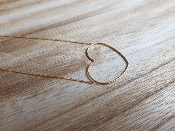 collier acier doré coeur pattesdechat