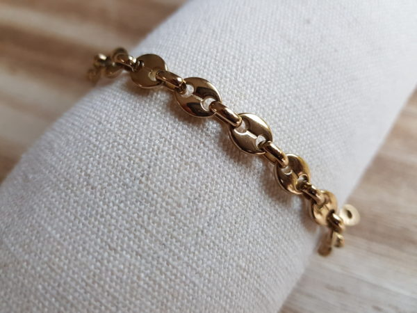 bracelet grain de café en acier doré
