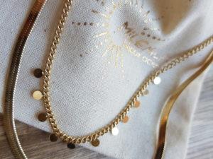 collier acier double rangs et pampilles