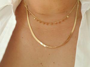collier acier doré double rangs et pampilles